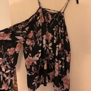 Long sleeve floral cut out top
